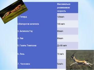№Максимально развиваемая скорость 1. Гепард120км/ч 2.Вилорогая антилопа10