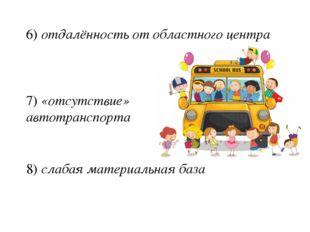 6) отдалённость от областного центра 7) «отсутствие» автотранспорта 8) слабая