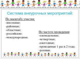 Система внеурочных мероприятий: По масштабу участия: -школьные; -районные; -о