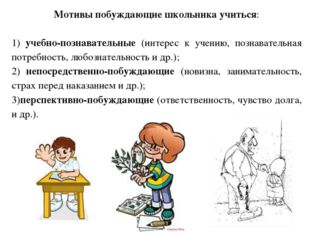 Мотивы побуждающие школьника учиться: 1) учебно-познавательные (интерес к уче
