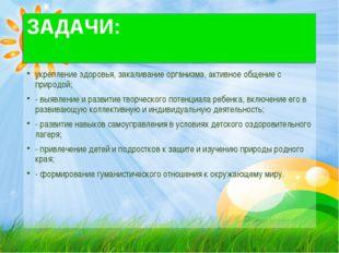 ЗАДАЧИ: укрепление здоровья, закаливание организма, активное общение с природ