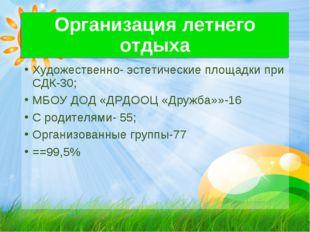 Организация летнего отдыха Художественно- эстетические площадки при СДК-30; М