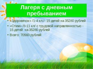 Лагеря с дневным пребыванием «Здоровячок» /1-4 кл./- 15 детей на 35280 рублей