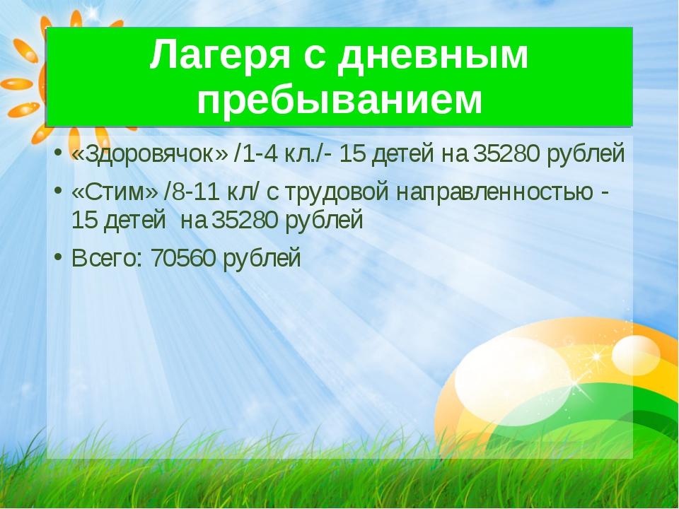 Лагеря с дневным пребыванием «Здоровячок» /1-4 кл./- 15 детей на 35280 рублей...