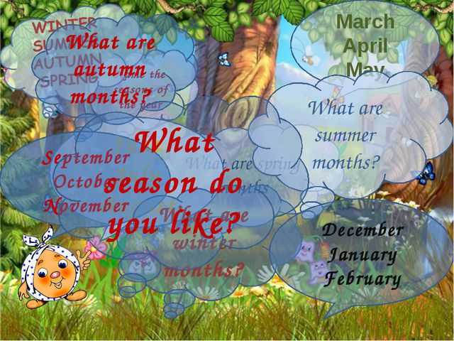 Name the seasons of the year What are spring months March April May What are...