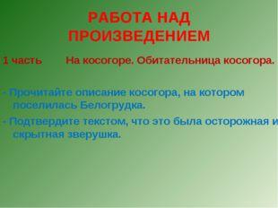 РАБОТА НАД ПРОИЗВЕДЕНИЕМ 1 часть На косогоре. Обитательница косогора. - Прочи