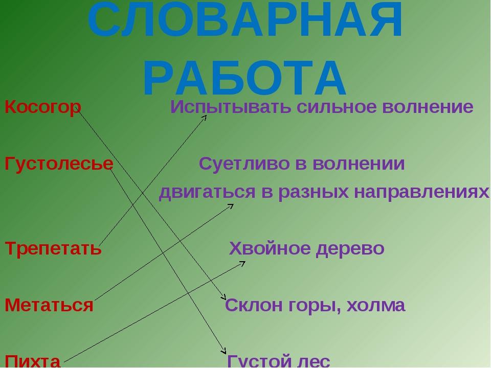 СЛОВАРНАЯ РАБОТА Косогор Испытывать сильное волнение Густолесье Суетливо в в...