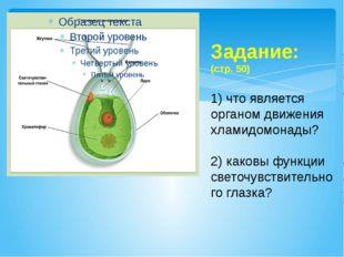 Задание: (стр. 50) 1) что является органом движения хламидомонады? 2) каковы