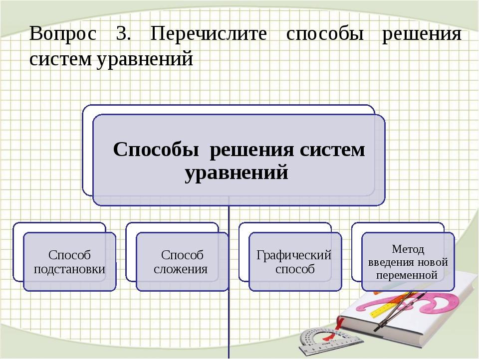 Вопрос 3. Перечислите способы решения систем уравнений