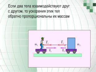 Если два тела взаимодействуют друг с другом, то ускорения этих тел обратно п