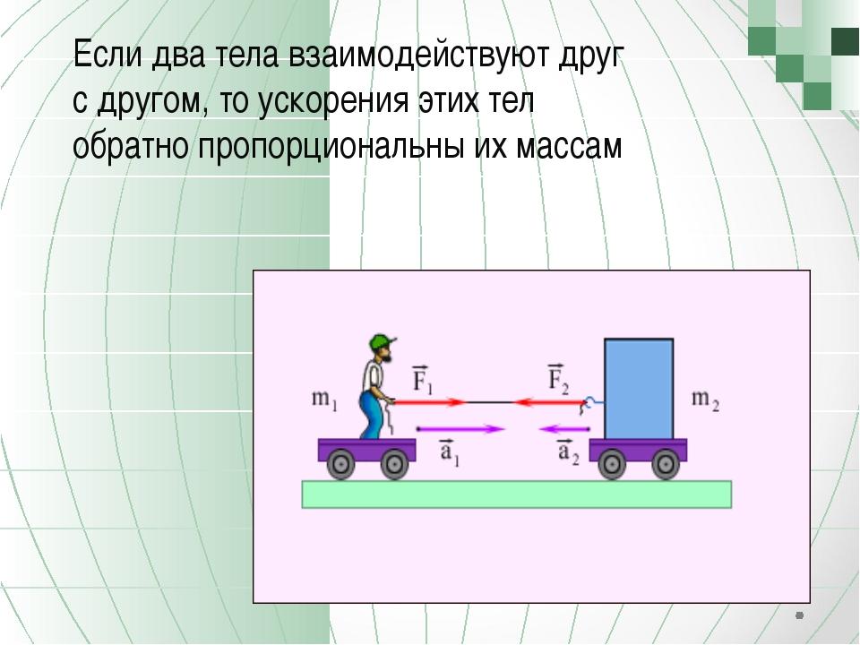 Если два тела взаимодействуют друг с другом, то ускорения этих тел обратно п...