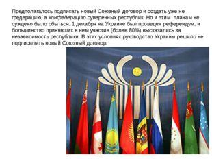 Предполагалось подписать новый Союзный договор и создать уже не федерацию, а