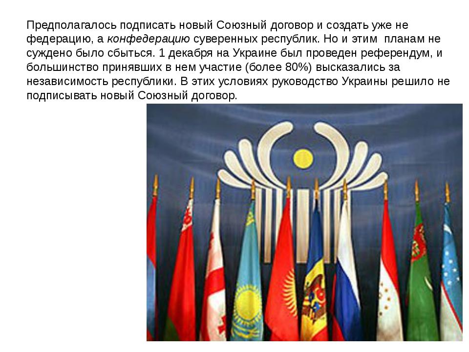 Предполагалось подписать новый Союзный договор и создать уже не федерацию, а...