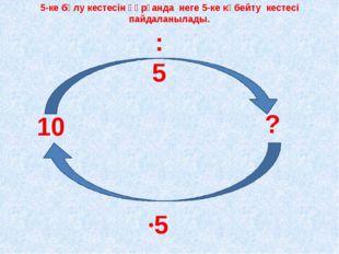 10 ? :5 ·5 5-ке бөлу кестесін құрғанда неге 5-ке көбейту кестесі пайдаланыла