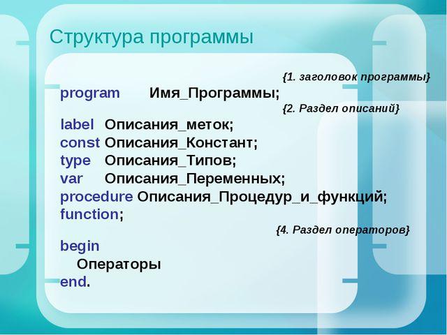 Структура программы {1. заголовок программы} program Имя_Программы; {2. Разд...