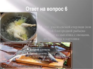 Ответ на вопрос 6 Это уха из свежей стерляди (или другой благородной рыбы)на
