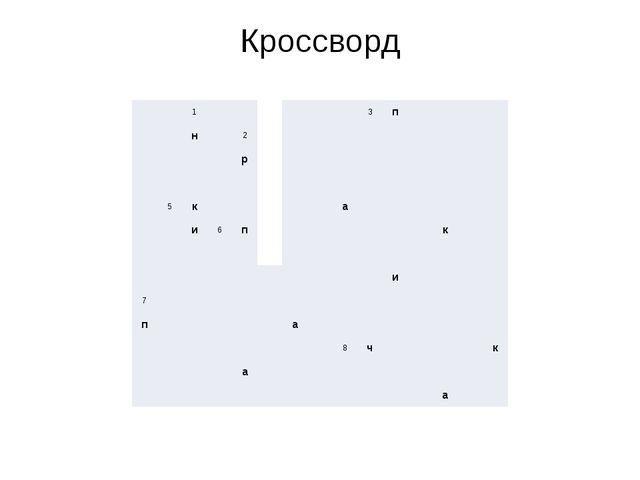 Кроссворд 1 3 п н 2 р 5 к а и 6 п к и 7 п а 8 ч к а а