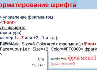 Форматирование шрифта  управление фрагментом текста Атрибуты шрифта: Face (г
