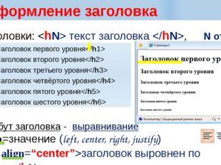 Оформление заголовка Заголовки:  текст заголовка ,  N от 6 до 1 Заголовок п