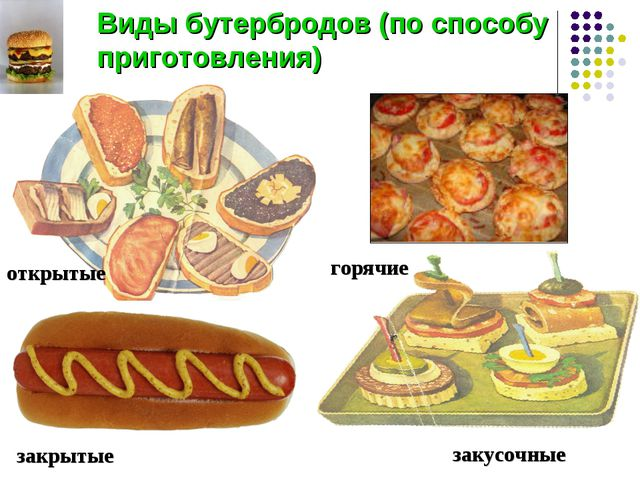 Виды бутербродов (по способу приготовления) открытые закусочные закрытые горя...