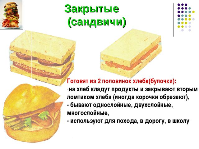 Закрытые (сандвичи) Готовят из 2 половинок хлеба(булочки): на хлеб кладут пр...