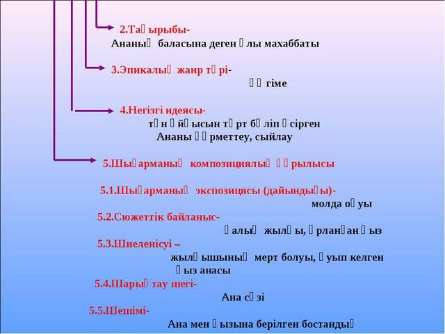 2.Тақырыбы- Ананың баласына деген ұлы махаббаты 3.Эпикалық жанр түрі- әңгіме...