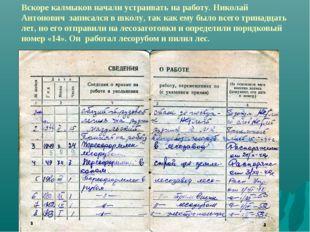 Вскоре калмыков начали устраивать на работу. Николай Антонович записался в шк