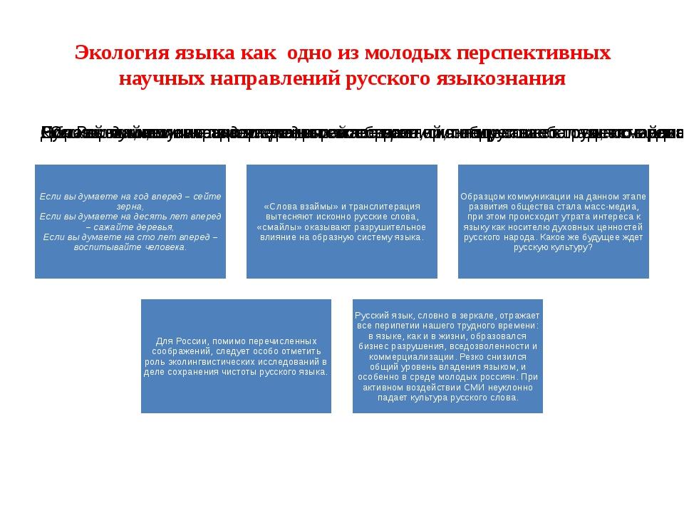 Экология языка как одно из молодых перспективных научных направлений русского...