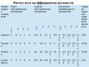Расчет всех коэффициентов весомости Наименование показателей Ранги проставлен