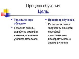 Процесс обучения. Цель. Традиционное обучение. Усвоение знаний, выработка уме