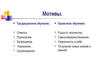 Мотивы. Традиционное обучение. Отметка. Приказание. Запрещение. Наказание. Со