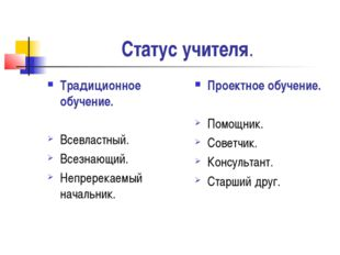 Статус учителя. Традиционное обучение. Всевластный. Всезнающий. Непререкаемый