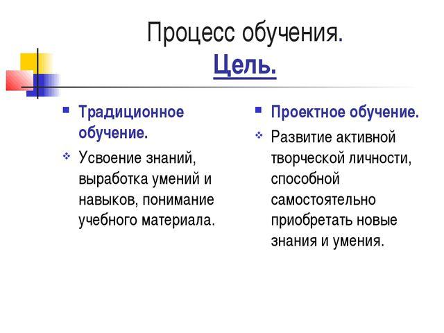 Процесс обучения. Цель. Традиционное обучение. Усвоение знаний, выработка уме...