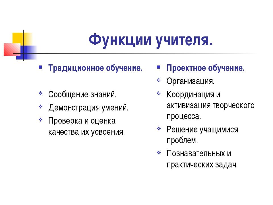 Функции учителя. Традиционное обучение. Сообщение знаний. Демонстрация умений...