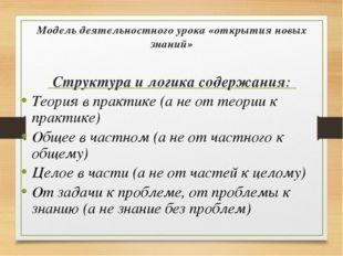 Модель деятельностного урока «открытия новых знаний» Структура и логика содер