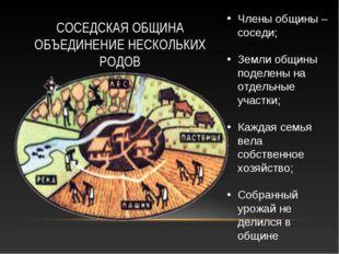 СОСЕДСКАЯ ОБЩИНА ОБЪЕДИНЕНИЕ НЕСКОЛЬКИХ РОДОВ Члены общины – соседи; Земли об