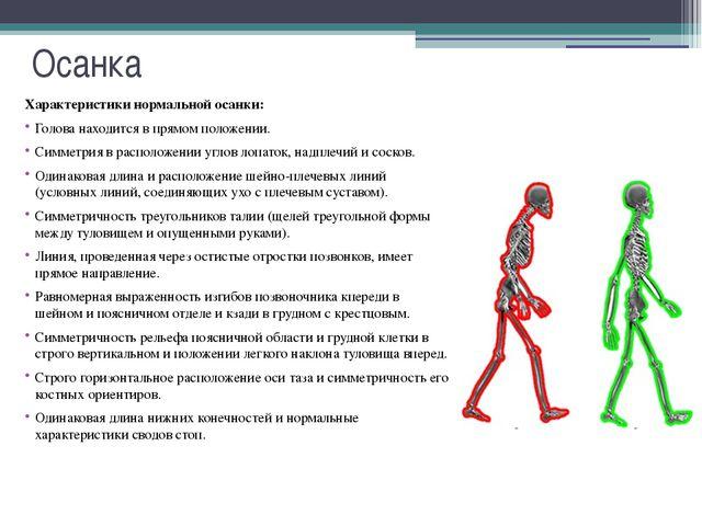 Осанка Осанка — важный показатель, характеризующий физическое развитие челове...