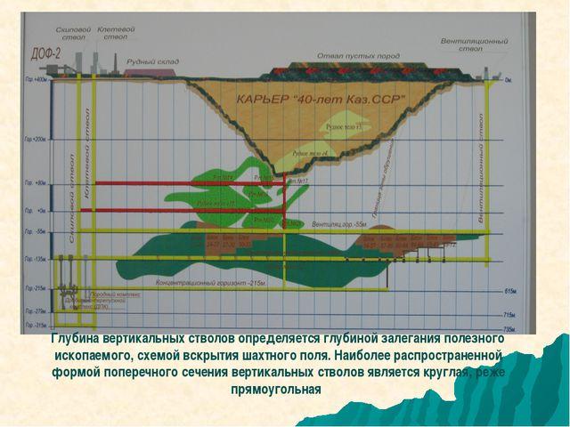 Глубина вертикальных стволов определяется глубиной залегания полезного ископа...