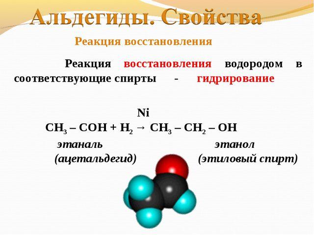 Реакция восстановления водородом в соответствующие спирты - гидрирование Ni...
