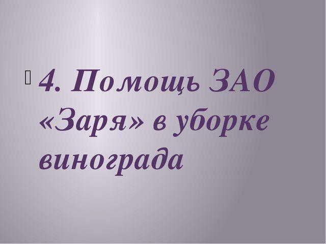4. Помощь ЗАО «Заря» в уборке винограда