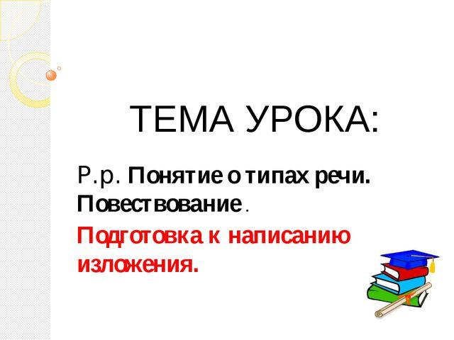 ТЕМА УРОКА: Р.р. Понятие о типах речи. Повествование . Подготовка к написанию...