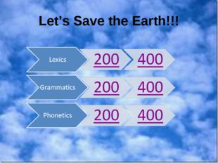 Let's Save the Earth!!!