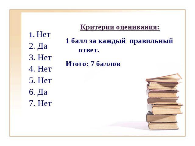 1. Нет 2. Да 3. Нет 4. Нет 5. Нет 6. Да 7. Нет Критерии оценивания: 1 балл за...