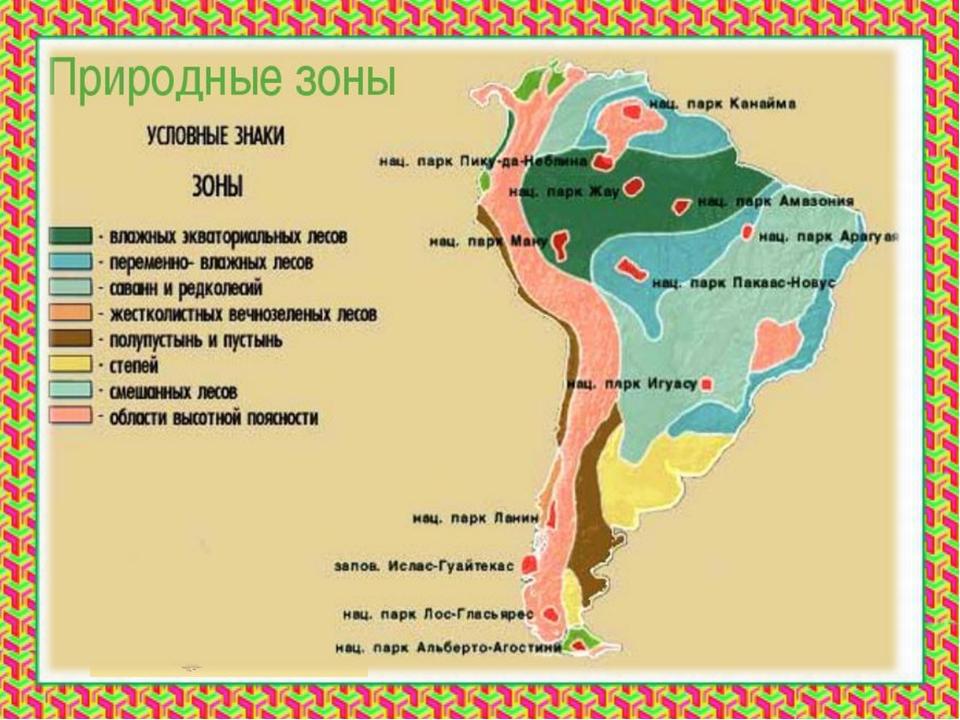 Тема урока: Природные зоны Южной Америки