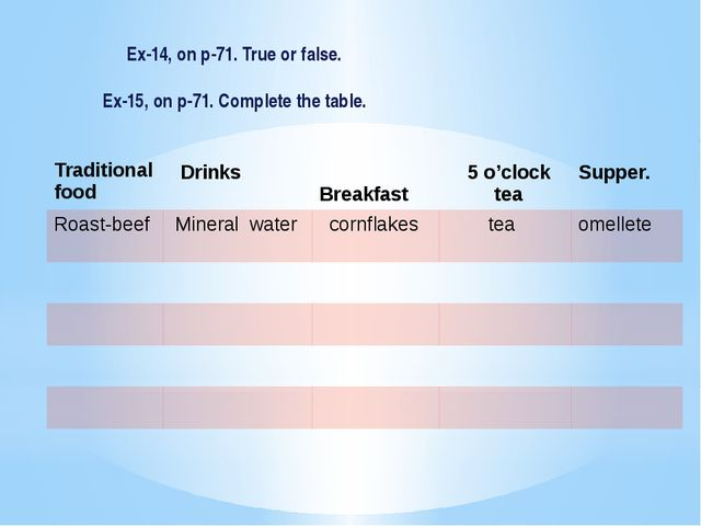 Ex-14, on p-71. True or false. Ex-15, on p-71. Complete the table. Tradition...