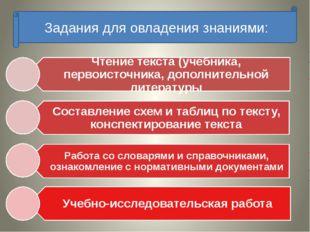 Задания для овладения знаниями: