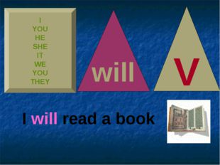 I YOU HE SHE IT WE YOU THEY V will I will read a book