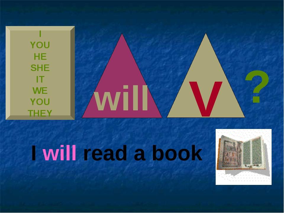 I YOU HE SHE IT WE YOU THEY V will I will read a book ?