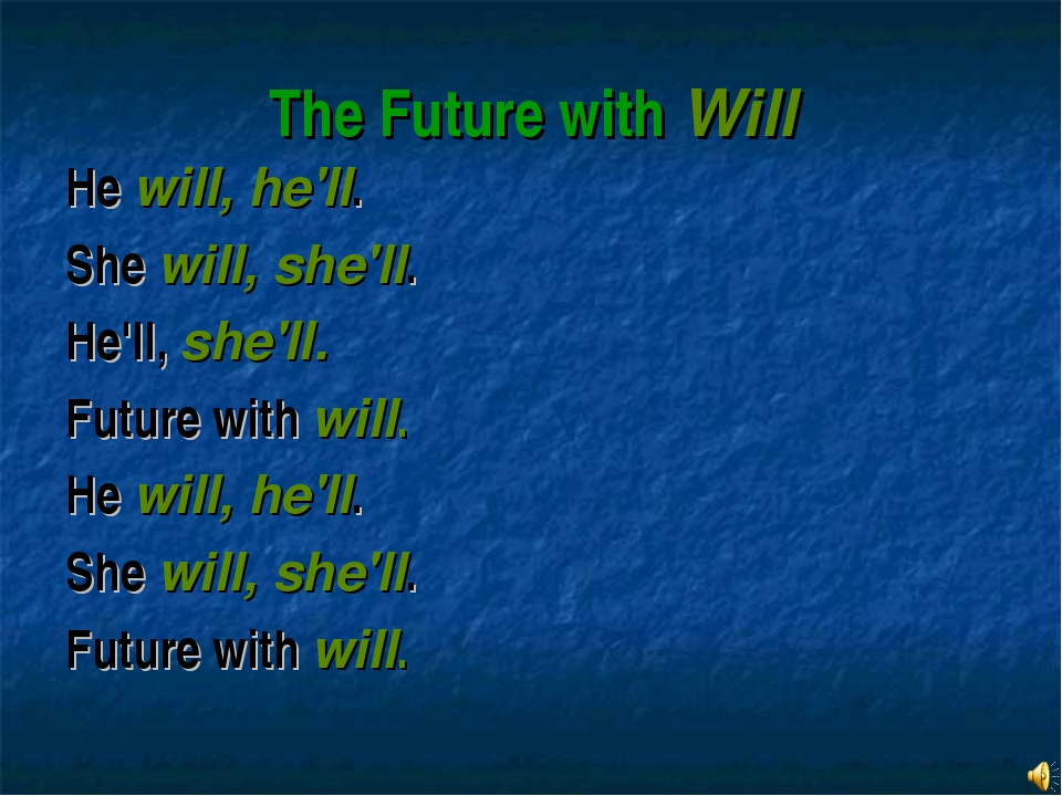 The Future with Will He will, he'll. She will, she'll. He'll, she'll. Future...