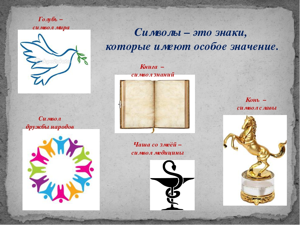 Символы – это знаки, которые имеют особое значение. Голубь – символ мира Сим...